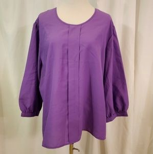 Xtra purple sz 18w VTG 70s chiffon top career wear